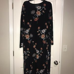 Black and floral printed middy dress